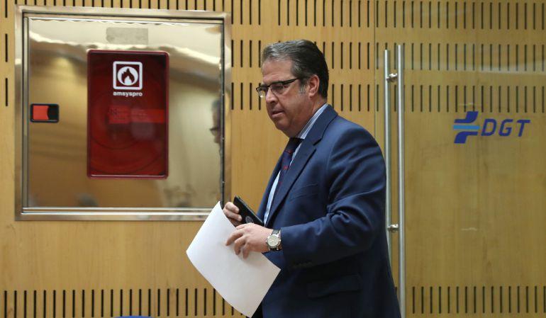 El director general de Tráfico, Gregorio Serrano, a su llegada a la rueda de prensa que ha ofrecido en la sede de la Dirección General en Madrid