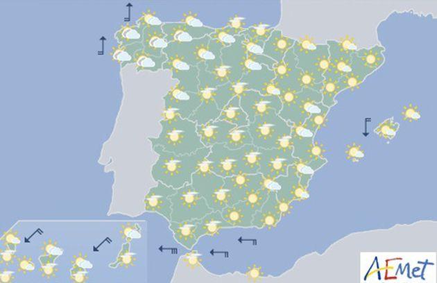 Mapa significativo elaborado por la Agencia Estatal de Meteorología (AEMET).
