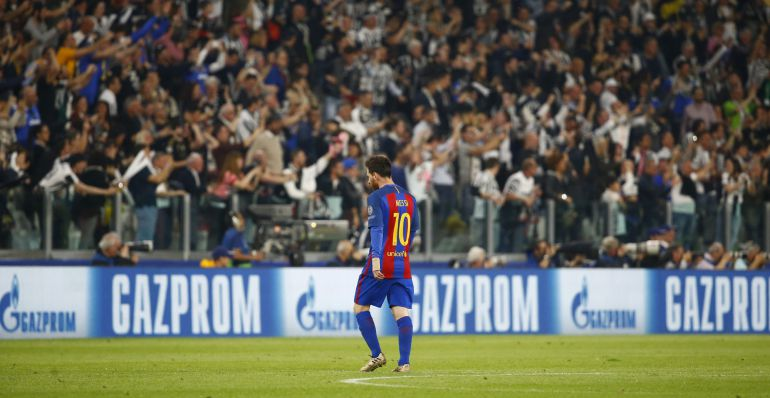 Messi y la grada del Juventus Stadium.