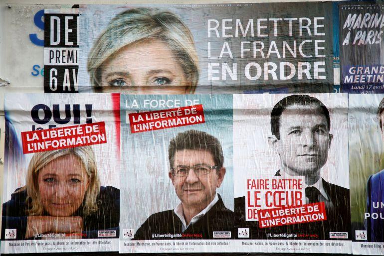 Carteles de la campaña electoral de las presidenciales francesas.