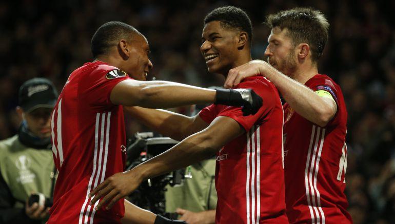Rashford celebra el gol de la clasificación del United