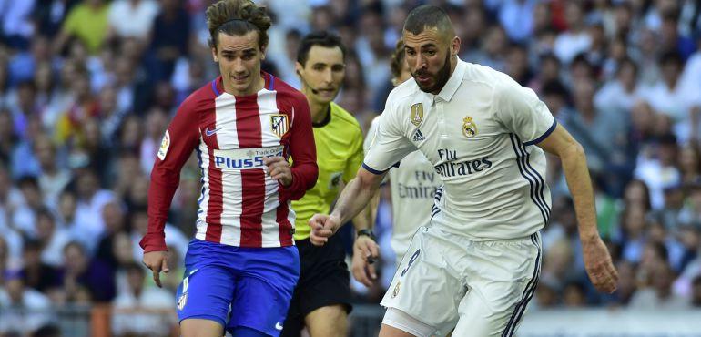 Griezmann y Benzema, en el último partido de Liga entre Real Madrid y Atlético en la Liga.