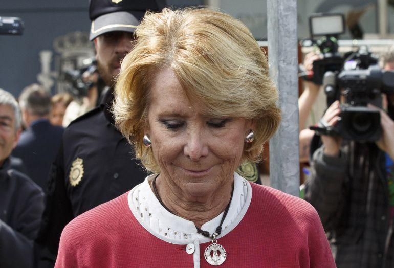 Esperanza Aguirre deja la Audiencia Nacional tras su declaración como testigo en el juicio de Gürtel