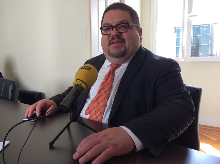 Mark Hugo López en un momento de la entrevista en la sede de The Hispanic Council