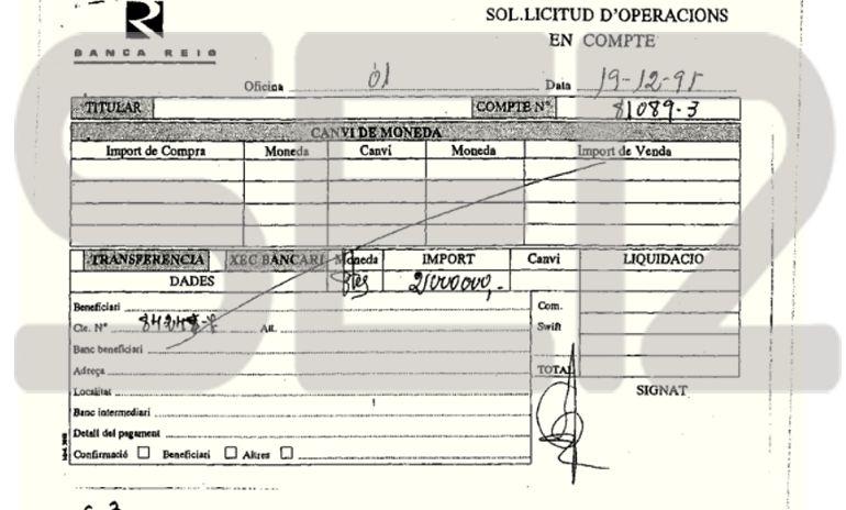Documento de solicitud de operaciones en cuenta de la Banca Reig fechado en 1995.