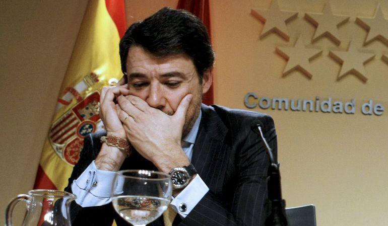Ignacio González, durante la rueda de prensa posterior a un Consejo de Gobierno en 2009