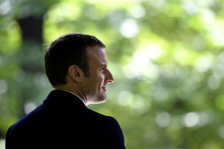 El nuevo presidente electo de Francia, Emmanuel Macron, durante un acto