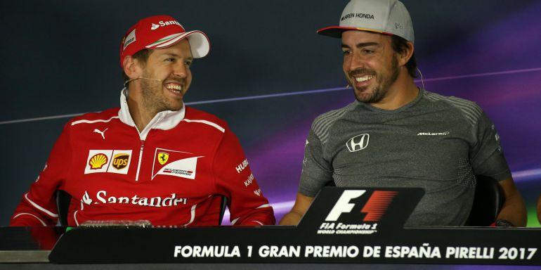 Vettel y Alonso, en la rueda de prensa previa al GP de España.