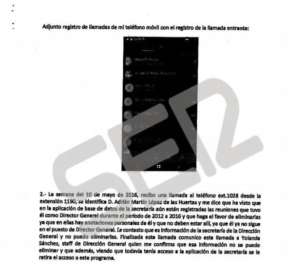 Segunda página de la denuncia para eliminar reuniones de la base de datos