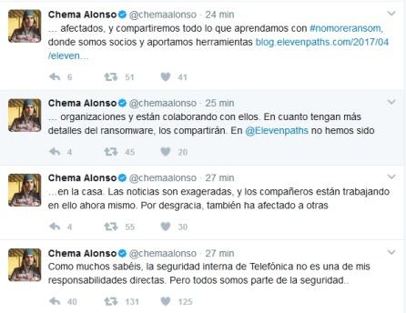 Perfil de Twitter de Chema Alonso, jefe de seguridad informática de Telefónica