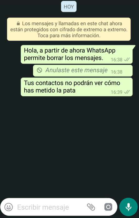 WhatsApp ya permite borrar mensajes.