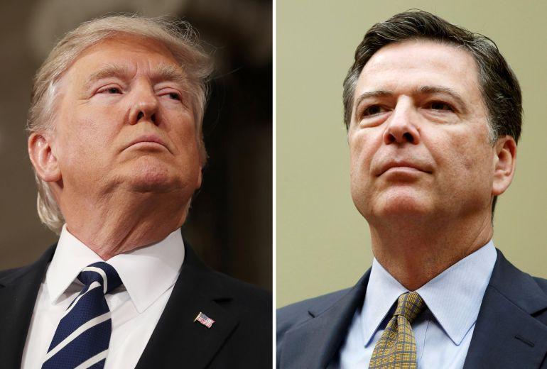 Montaje con los rostros del presidente Donald Trump (izquierda) y el exdirector del FBI James Comey