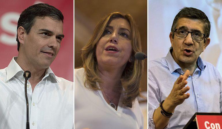 Pedro Sánchez, Susana Díaz y Patxi López, candidatos a las primarias del PSOE.