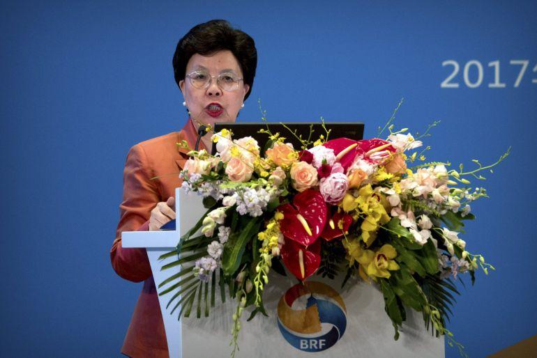 La directora General de la Organización Mundial de la Salud, Margaret Chan durante una convención en China