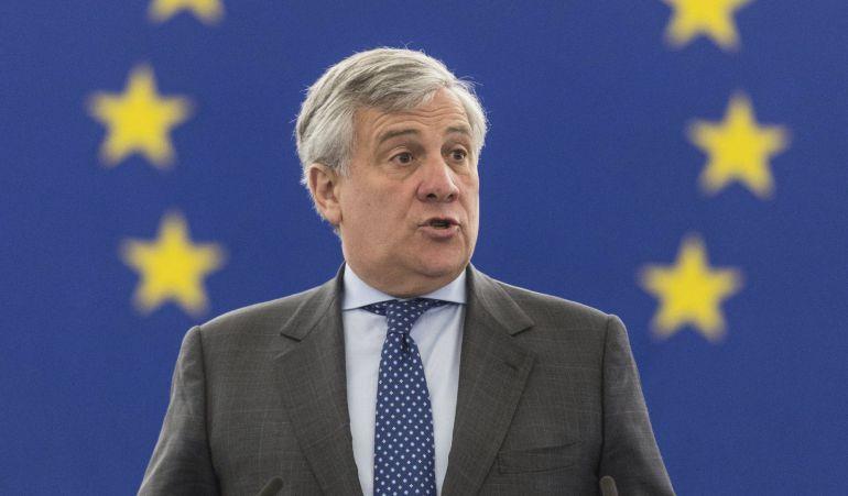 Antonio Tajani, presidente del parlamento Europeo en un momento de sesión del hemiciclo en Estrasburgo.