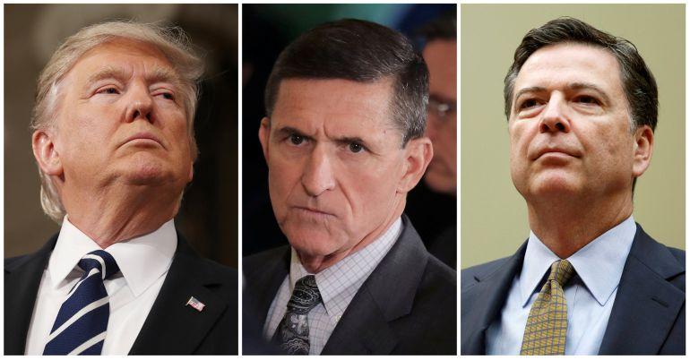 Montaje con fotografías de Donald Trump, Michael Fynn y James Comey
