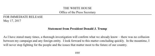 Comunicado de la Casa Blanca.