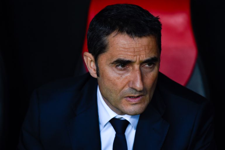 Valverde, en el banquillo de San Mamés