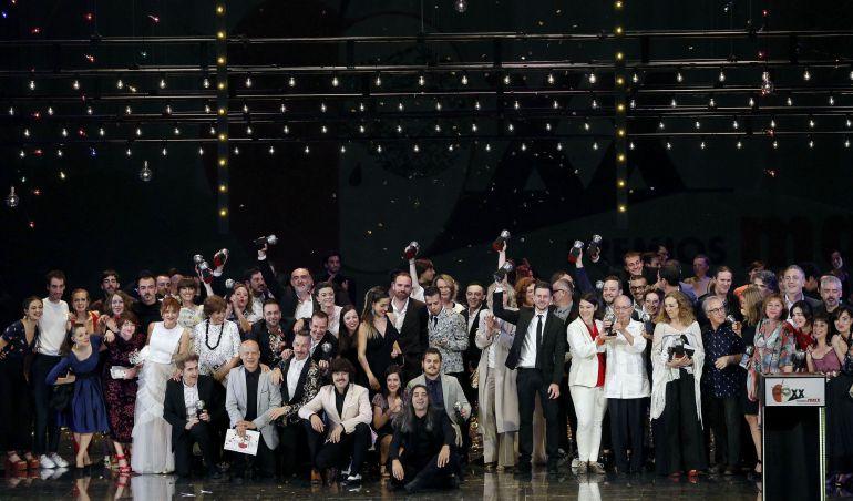 Premiados en la gala de entrega de la vigésima edición de los Premios Max de las Artes Escénicas, celebrada esta noche en el Palau de Les Arts Reina Sofía de Valencia.