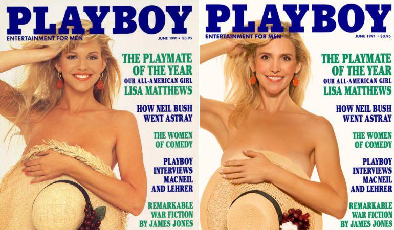 La modelo Lisa Matthews posando para la revista en junio de 1991.