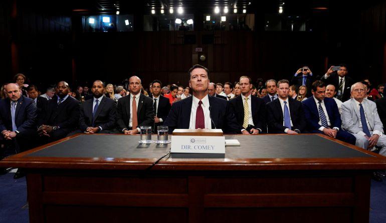 El exdirector del FBI James Comey declara ante el Comité de Inteligencia del Senado de EEUU sobre la trama rusa.