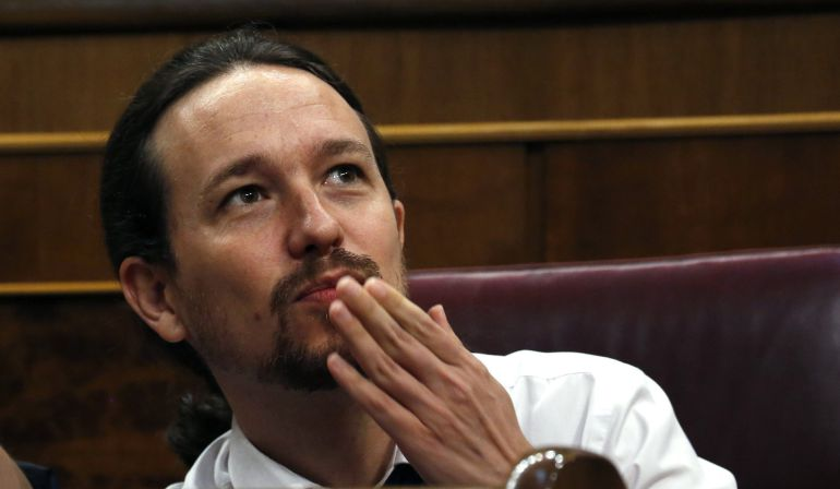 El líder de Podemos, Pablo Iglesias, al inicio de la segunda jornada del debate de la moción de censura