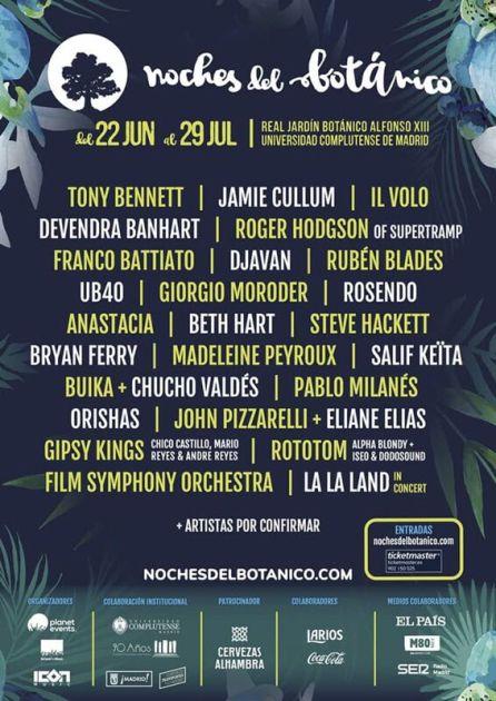 Cartel Festival Noches del Botánico 2017.