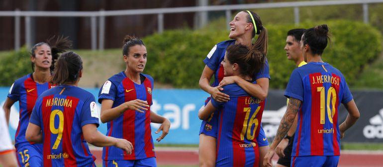 Vicky Losada celebra su gol ante el Valencia