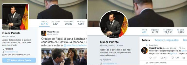 El perfil de Óscar Puente, de más de 53.000 tuits a poco más de 400