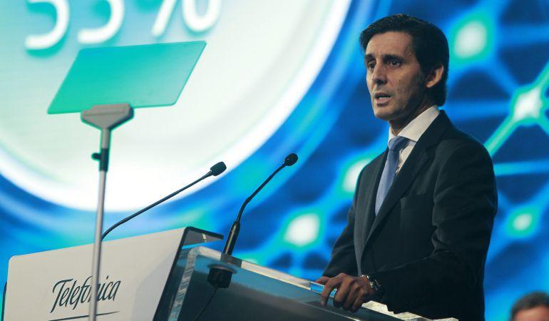 El presidente de Telefónica, José María Álvarez-Pallete, durante su intervención ante la junta de accionistas de la multinacional.