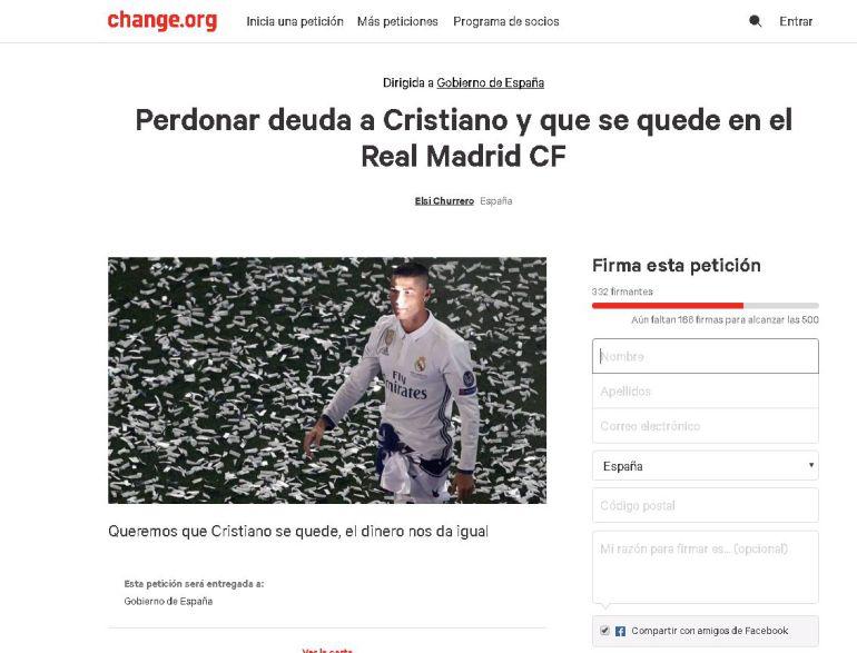 Petición para perdonar la deuda a CR7 de Change.org.