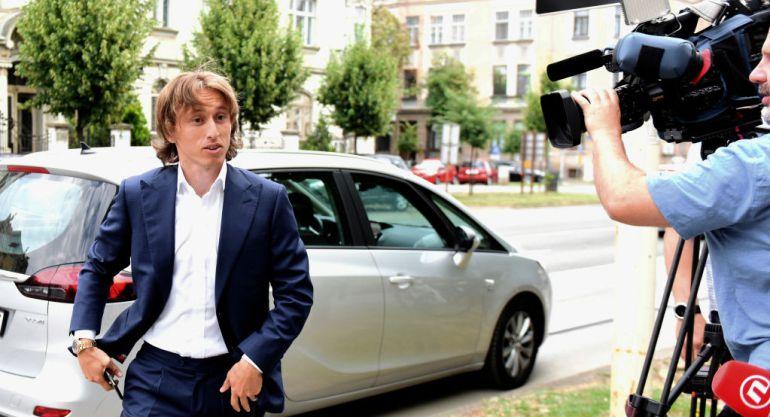 El futbolista Luka Modric, a su llegada al juicio.