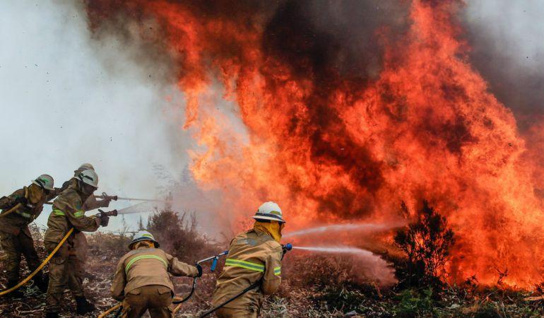 Los bomberos tratan de apagar las llamas.