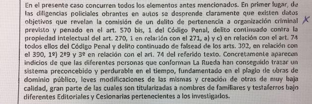 Extracto del auto judicial donde se señala la organización criminal