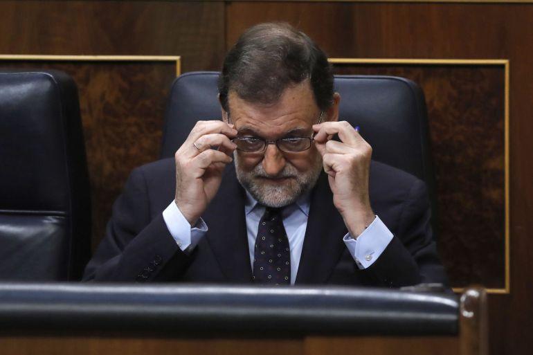 El presidente del Gobierno, Mariano Rajoy, en su escaño durante la sesión de control al Gobierno