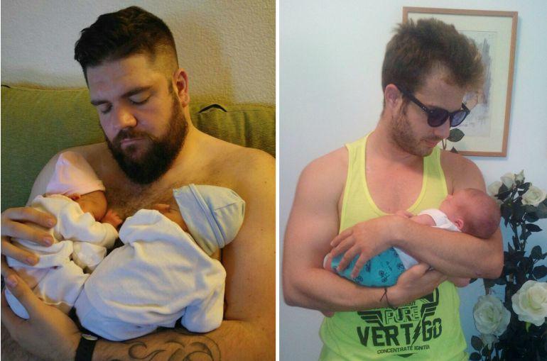 Marcos y Jorge, de 35 y 25 años, con sus bebés recién nacidos.