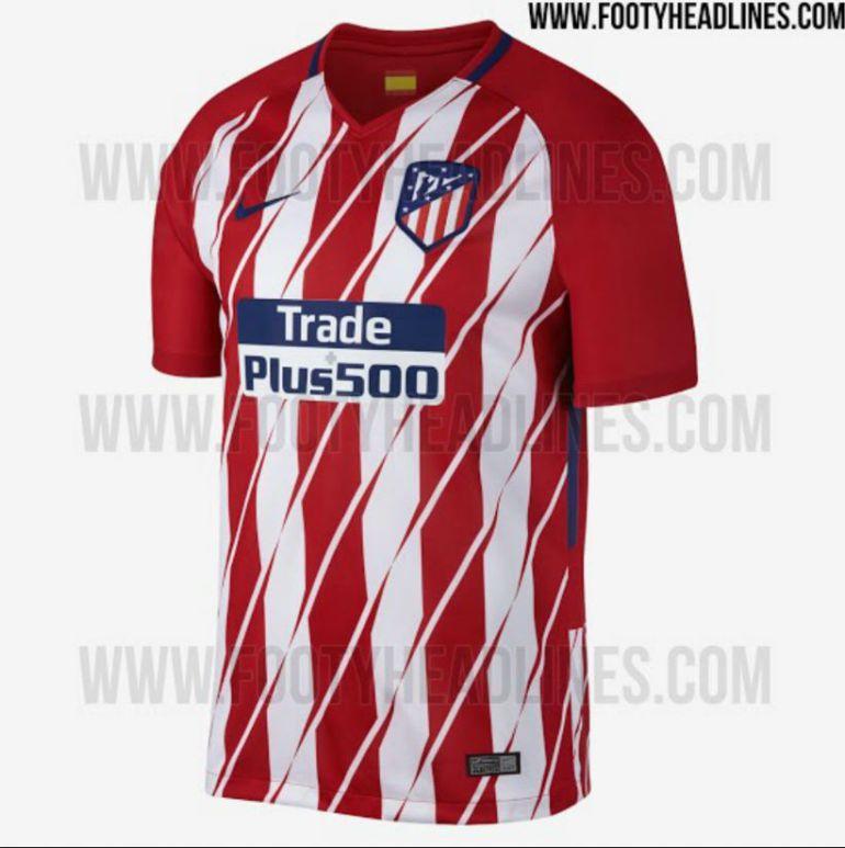 Imagen de la nueva camiseta del Atlético de Madrid para la temporada 2.017-18.