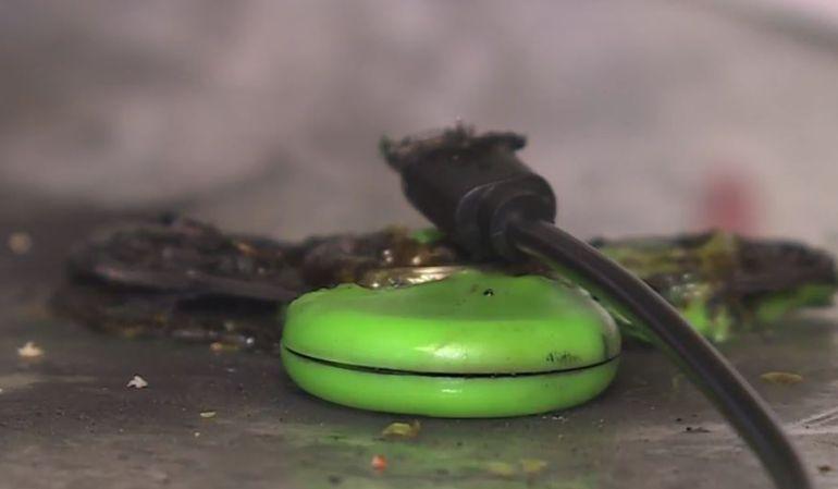 Uno de los Spinners incendiados.