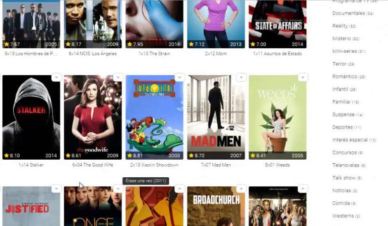 Algunas de las películas de Pordede.