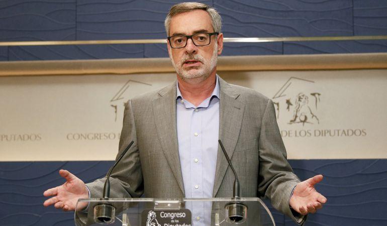 El secretario general de Ciudadanos, José Manuel Villegas, durante la rueda de prensa que ha ofrecido este miércoles en el Congreso.