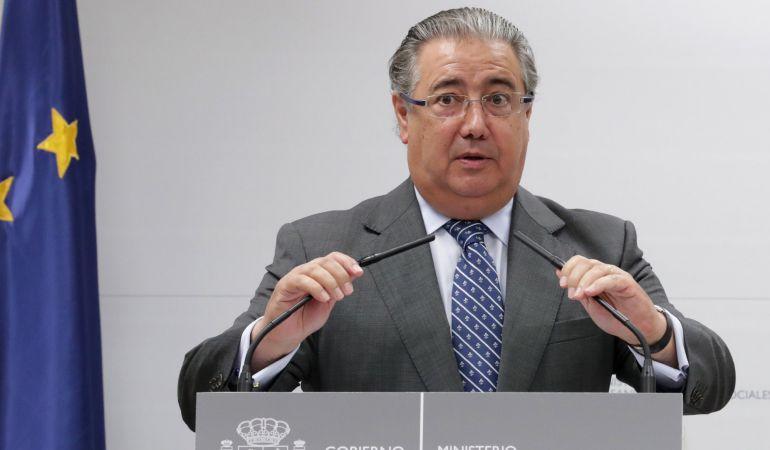 El ministro del Interior, Juan Ignacio Zoido, durante su intervención en el acto celebrado este miércoles en el Ministerio de Sanidad.
