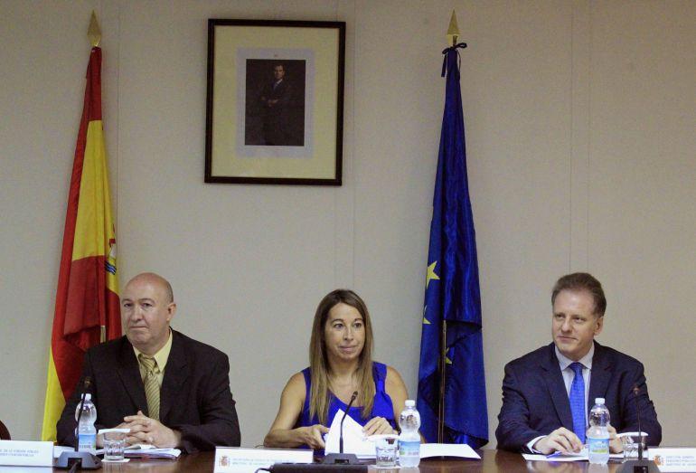 La secretaria de Estado de Función Pública, Elena Collado (c), durante la reunión de la Mesa General de Negociación de la Administración General del Estado, para concretar la oferta de empleo público