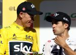 RODEZ, FRANCE - JULY 15: Chris Froome (l) of Great Britain and Team Sky chats to team mate Mikel Landa of Spain after stage 14 of the 2017 Le Tour de France, a 181.5km stage from Blagnac to Rodez on July 15, 2017 in Rodez, France. (Photo by Bryn Lennon/Getty Images)
