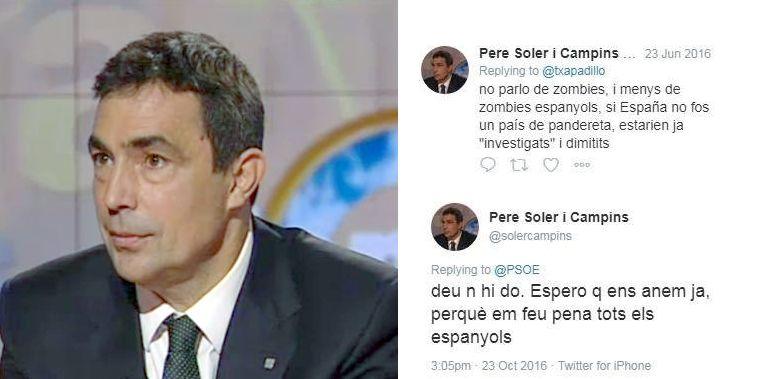 """Pere Soler escribió en Twitter """"espero que nos vayamos ya porque me dais pena todos los españoles""""."""
