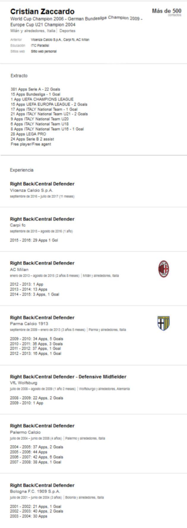 El campeón de Mundo con Italia en 2006 que busca trabajo en Linkedin ...