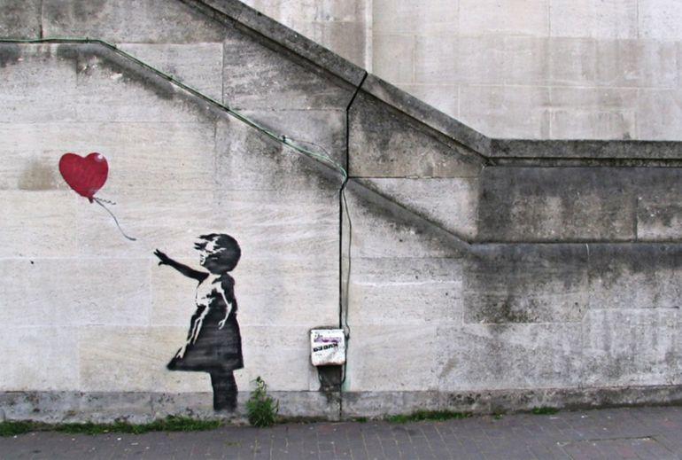 El grafiti 'Balloon girl' en el lugar original.