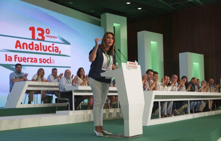 La presidenta andaluza y secretaria general del PSOE-A, Susana Díaz, durante su intervención en el 13 Congreso del PSOE Andaluz