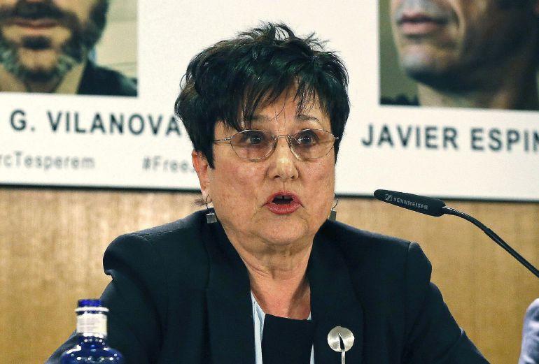 Fotografía de archivo del 6 de febrero de 2014 de la presidenta de Reporteros Sin Fronteras en España, Malén Aznárez, que ha fallecido en la Clínica La Concepción de Madrid a los 74 años, víctima de una enfermedad que padecía desde hace varios meses.