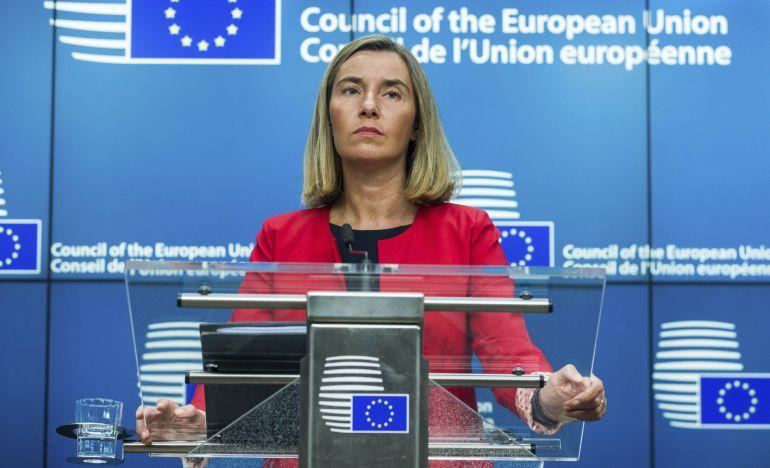 La alta representante de la Unión Europea (UE) para la Política Exterior, Federica Mogherini, durante una rueda de prensa