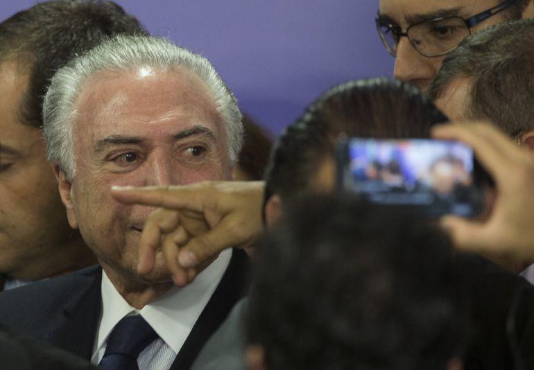 El presidente de Brasil, Michel Temer, durante un acto